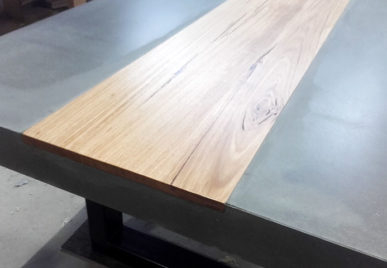 2400 x 1200 Ironstone table with Timber inlay