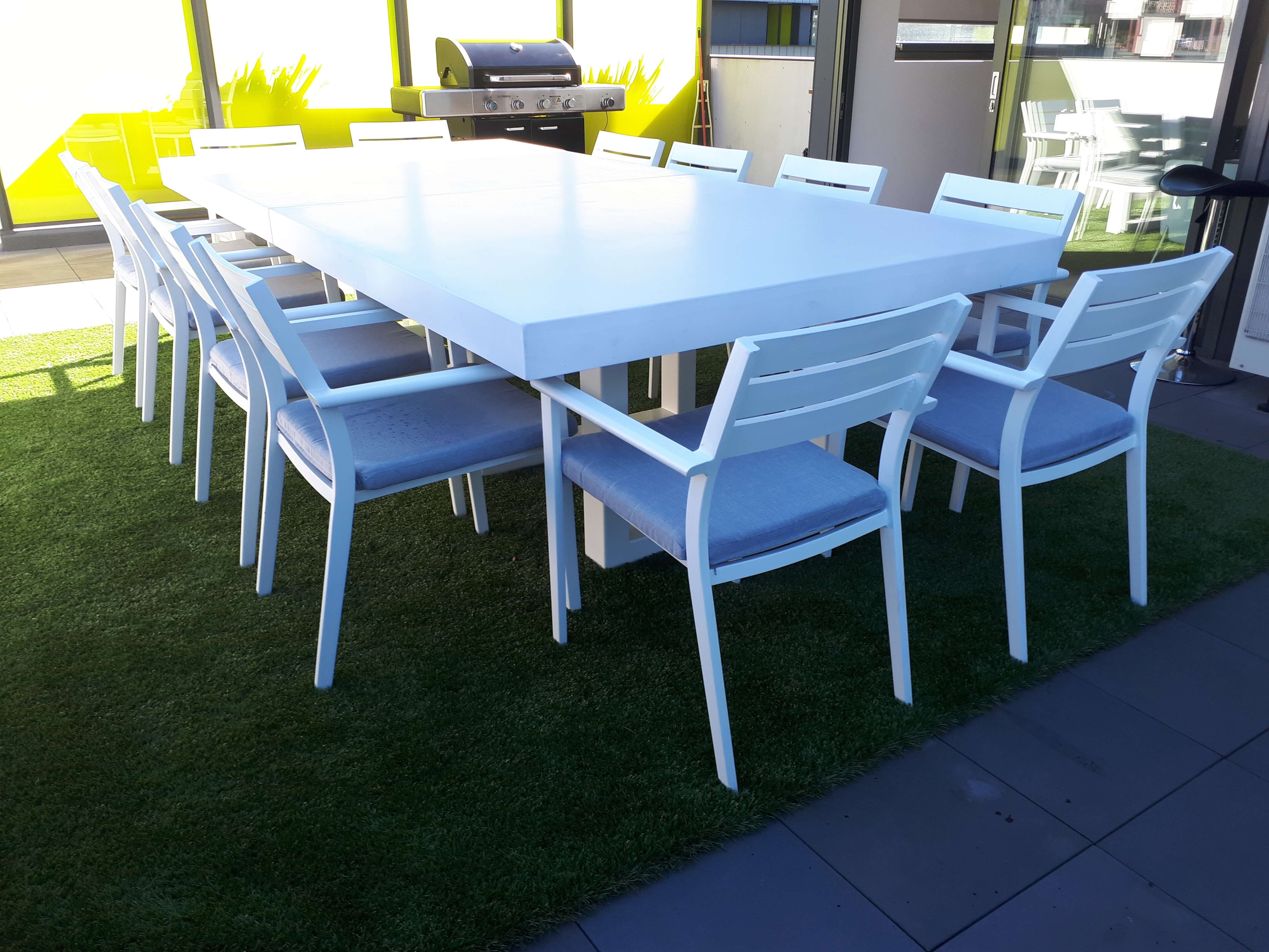 3000 x 1200 ironstone white concrete table with steel hoop legs